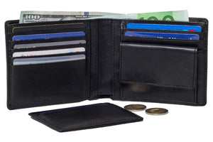 DiLoro Men's Leather Wallets RFID Blocking Technology and a Removable Card Wallet Black - Inside View with Coin Compartment, Double Billfold and Card Wallet