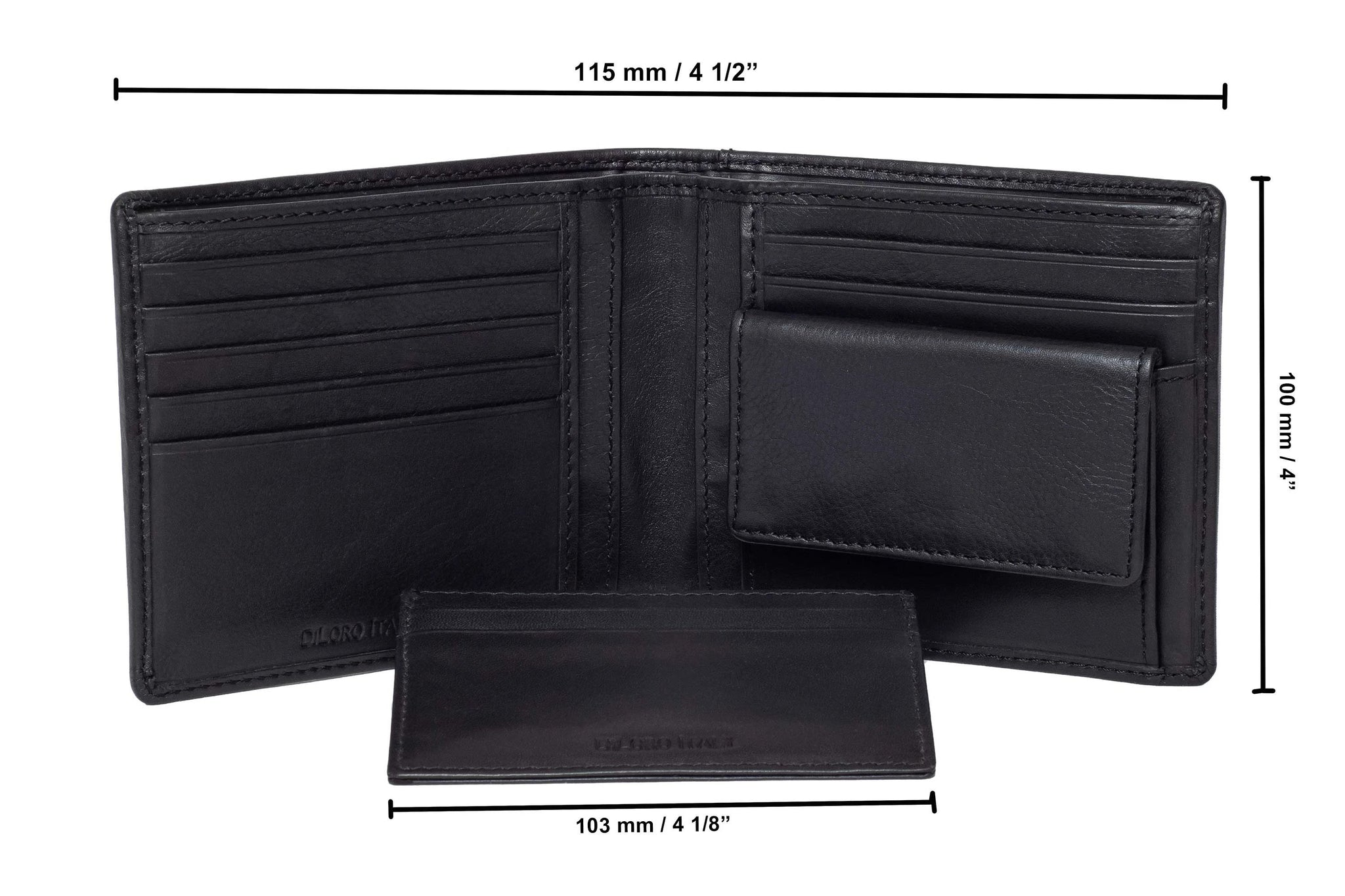 DiLoro Men's Leather Wallets RFID Blocking Removable Card Wallet Black - Inside View with Card Wallet showing dimensions of wallet