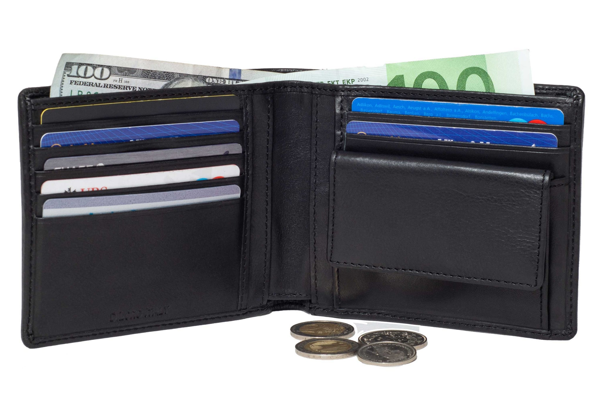 DiLoro Leather Bifold Wallet with Back Slip Pocket, Coin Section and RFID Protection - Open View