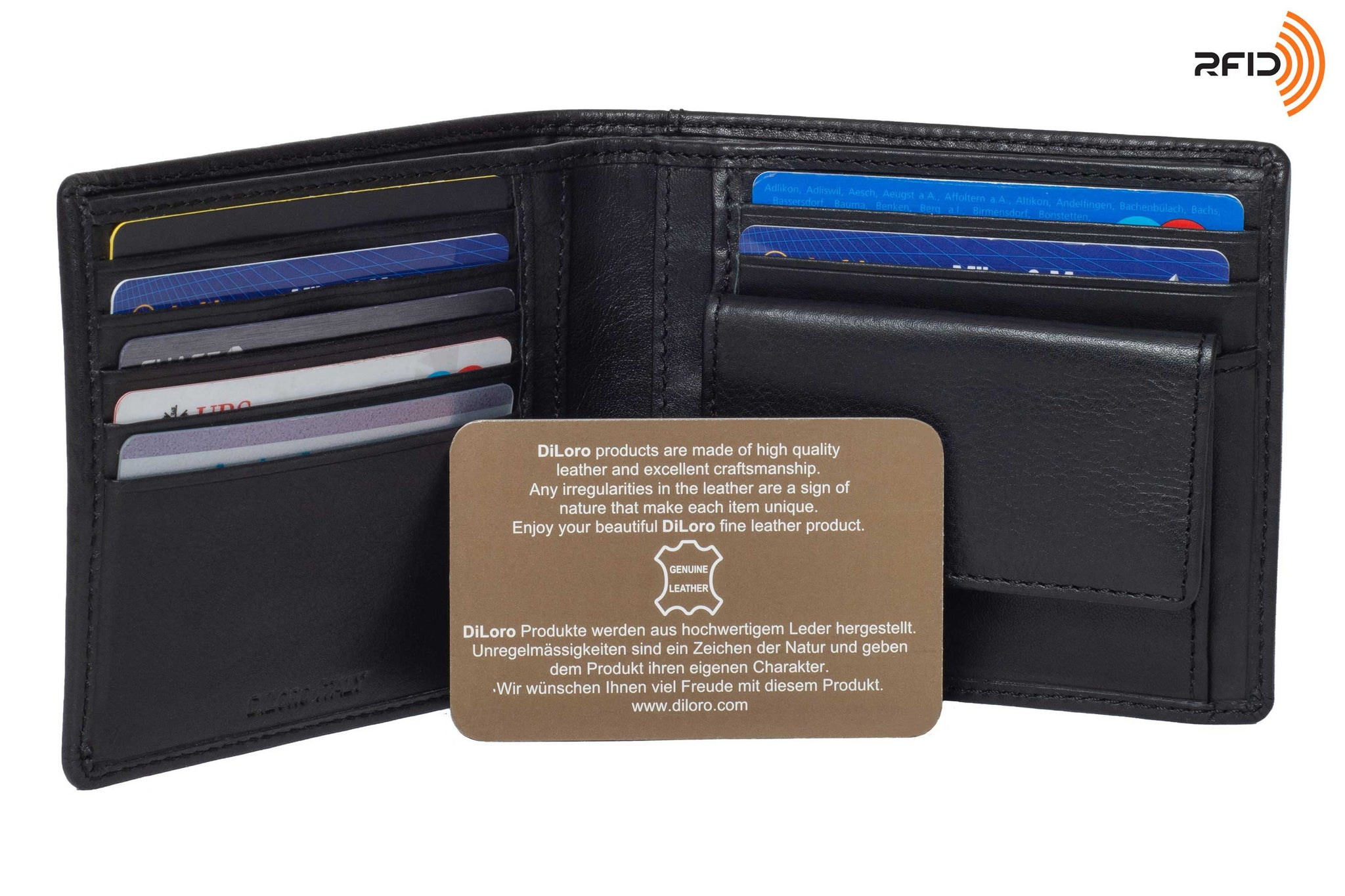 DiLoro Leather Bifold Wallet with Back Slip Pocket, Coin Section and RFID Protection - Warranty Card