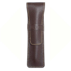 DiLoro Single Leather Pen Holder in Chocolate Brown Full Grain Leather
