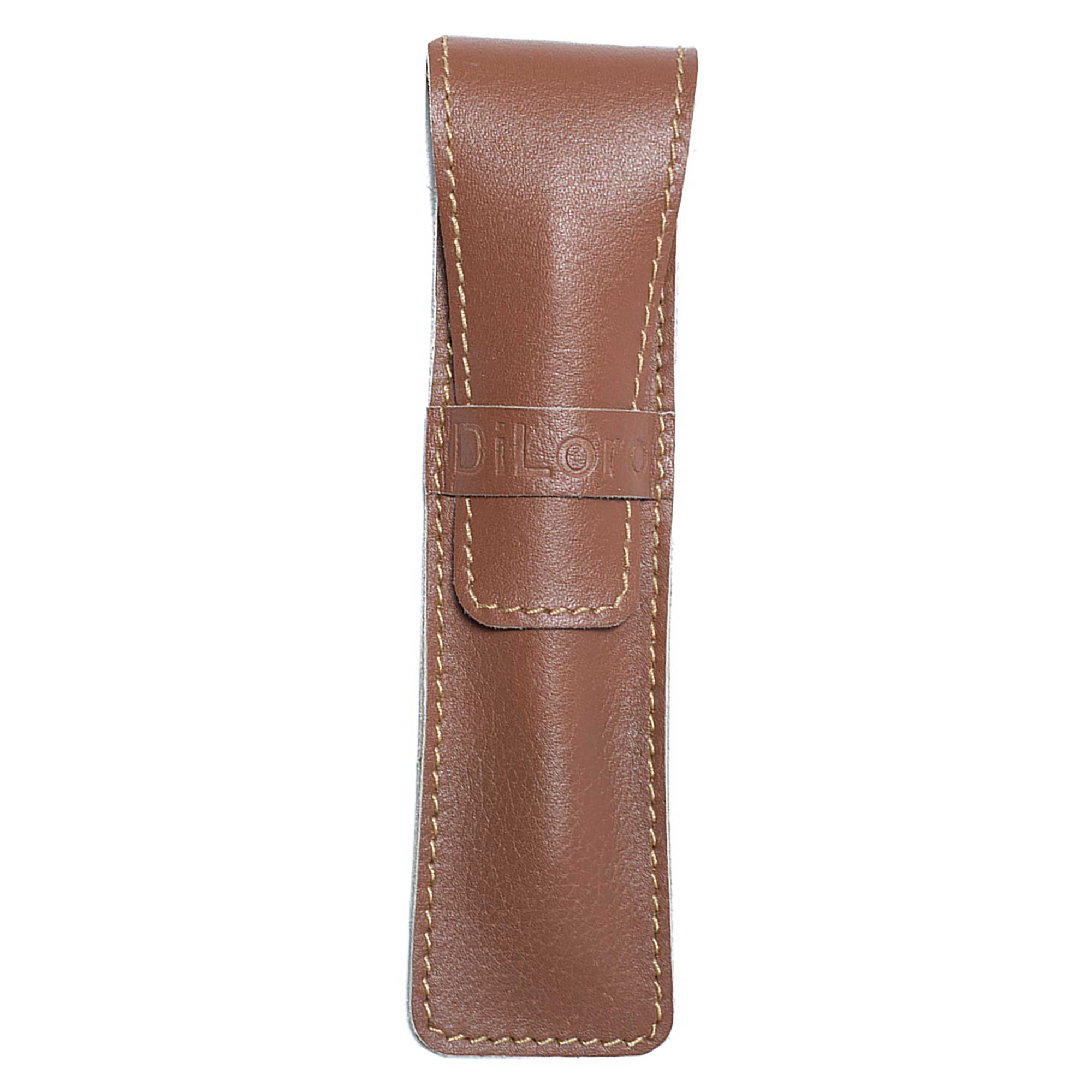 DiLoro Single Leather Pen Holder in Sepia Tan Full Grain Leather