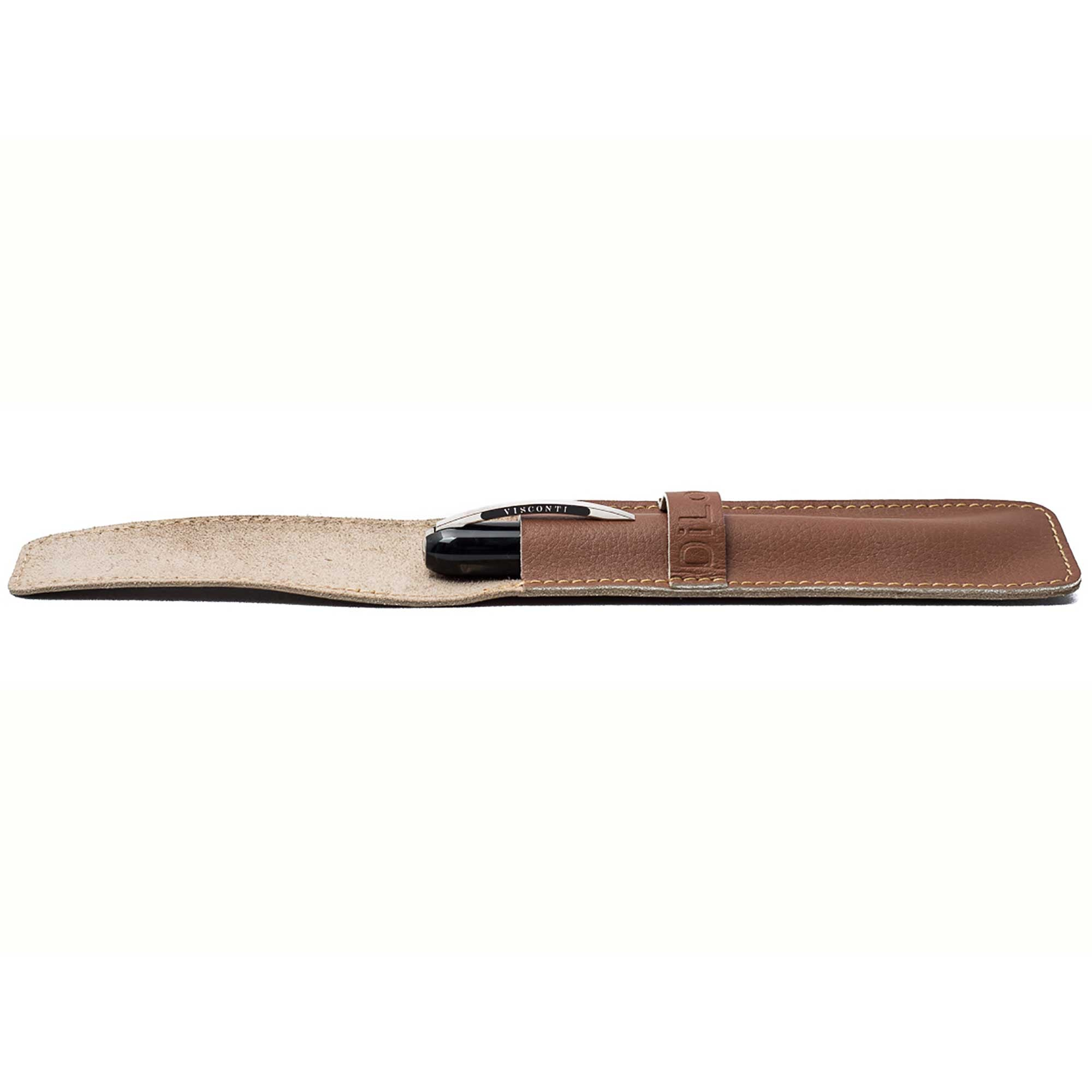 DiLoro Single Leather Pen Holder in Sepia Tan Full Grain Leather (pen not included)