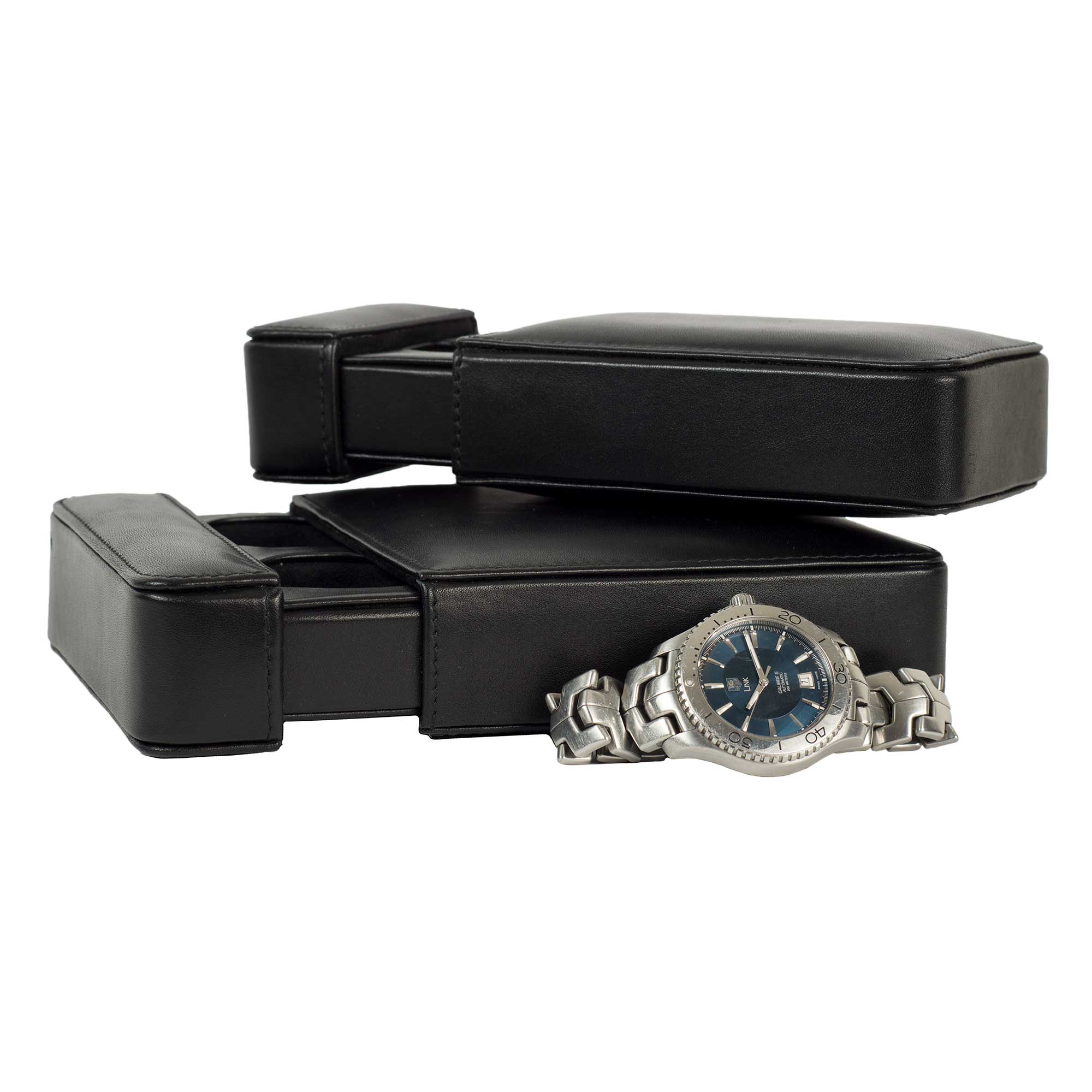 DiLoro Italy Leather Travel Watch Box Cases are available in single and double size - color black.