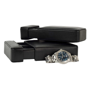 DiLoro Italian Leather Double Travel Watch Case Holder Black - Inside, Open View