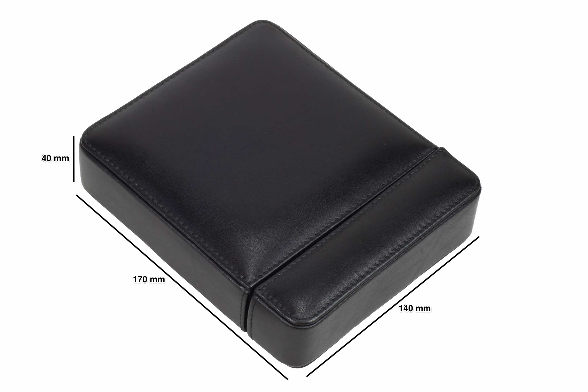 DiLoro Italian Leather Double Travel Watch Box Case Holder in Black - Dimensions
