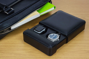 DiLoro Italian Leather Double Travel Men's Watch Box Case Holder in Black - Lifestyle Image