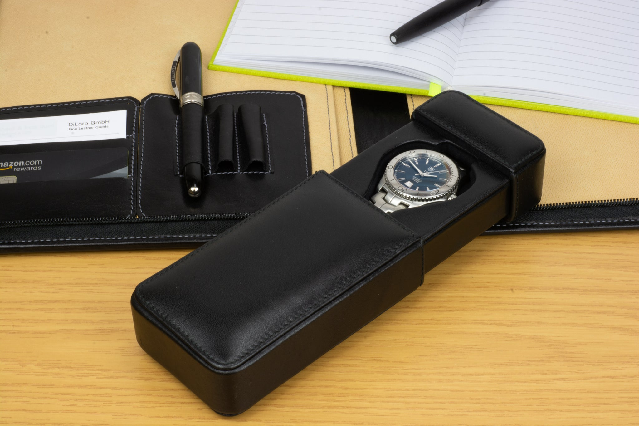 DiLoro Italian Leather Single Travel Watch Case Holder in Black Made in Italy with DiLoro Italy Portfolio (pen and watch not included)