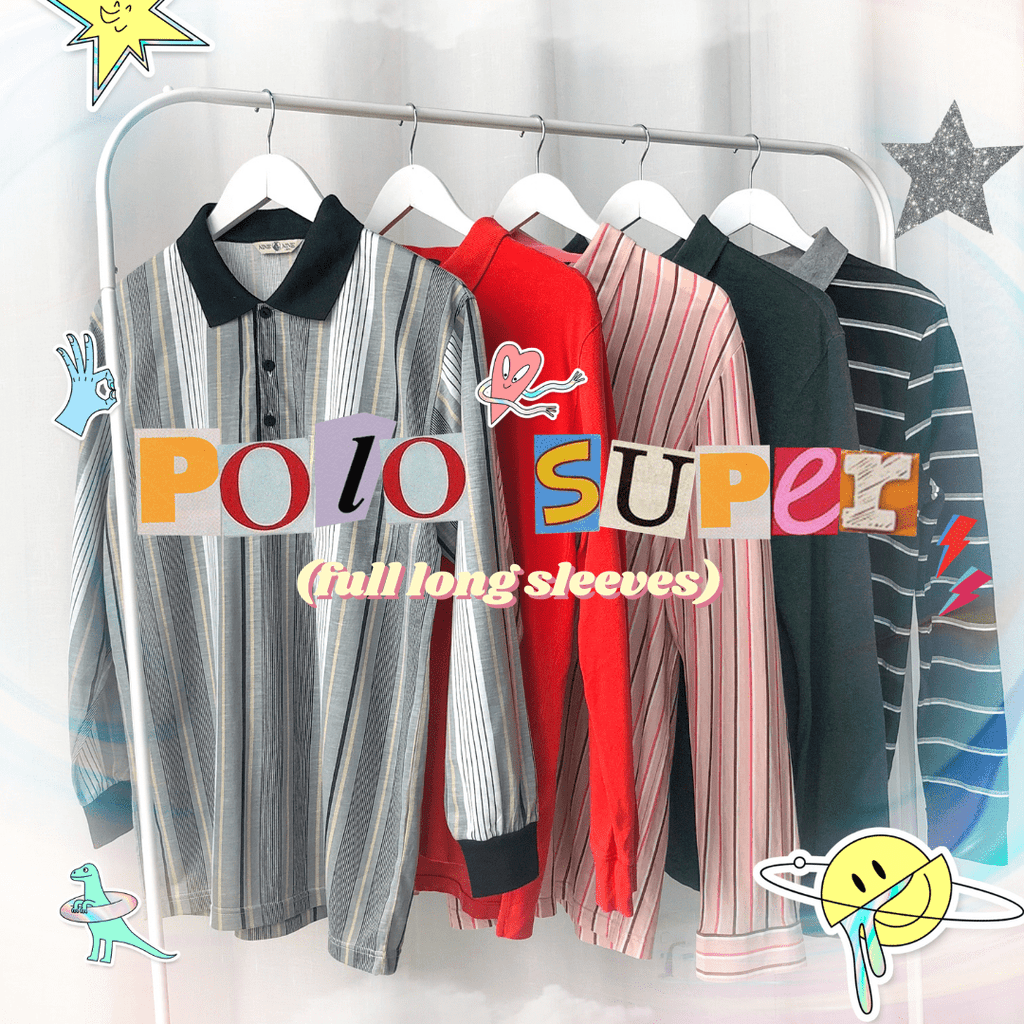 90s Long Sleeve Polo Shirt (Stripes & Solids)