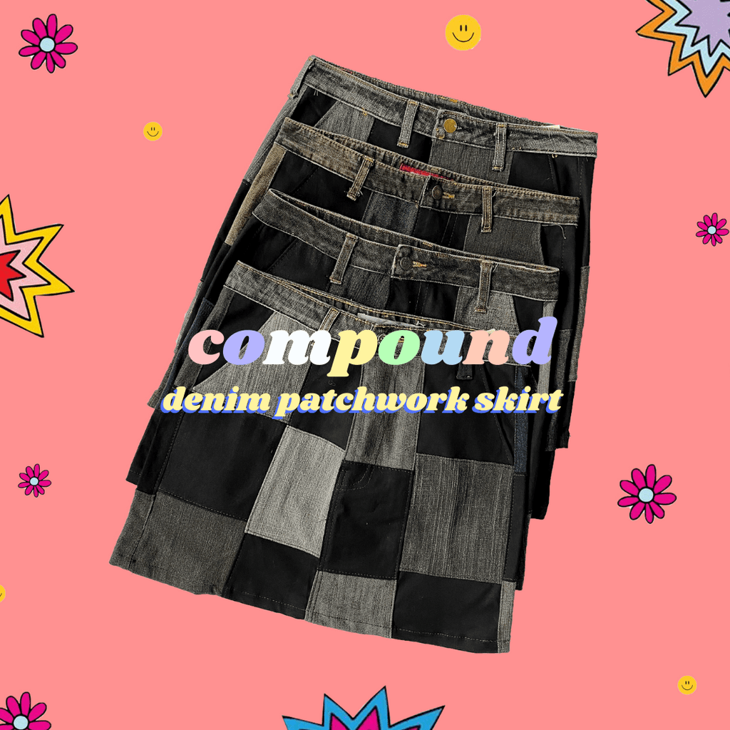 COMPOUND Rework Vintage Denim Skirt in Black