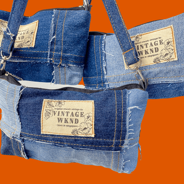 Compound Denim Patchwork Mini Bag