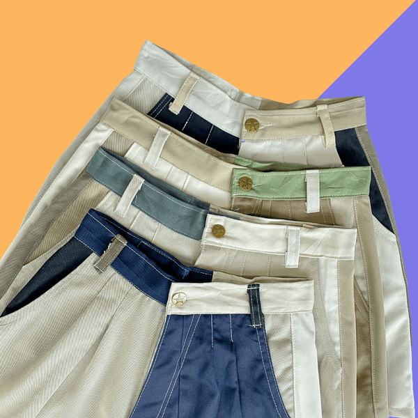HALF & HALF Colourblock Cotton Shorts