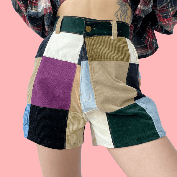 *NEW* 🏁RUBIX Corduroy Patchwork Mini Shorts