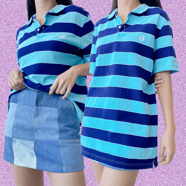 90s Oversized Polo Shirt in Stripes