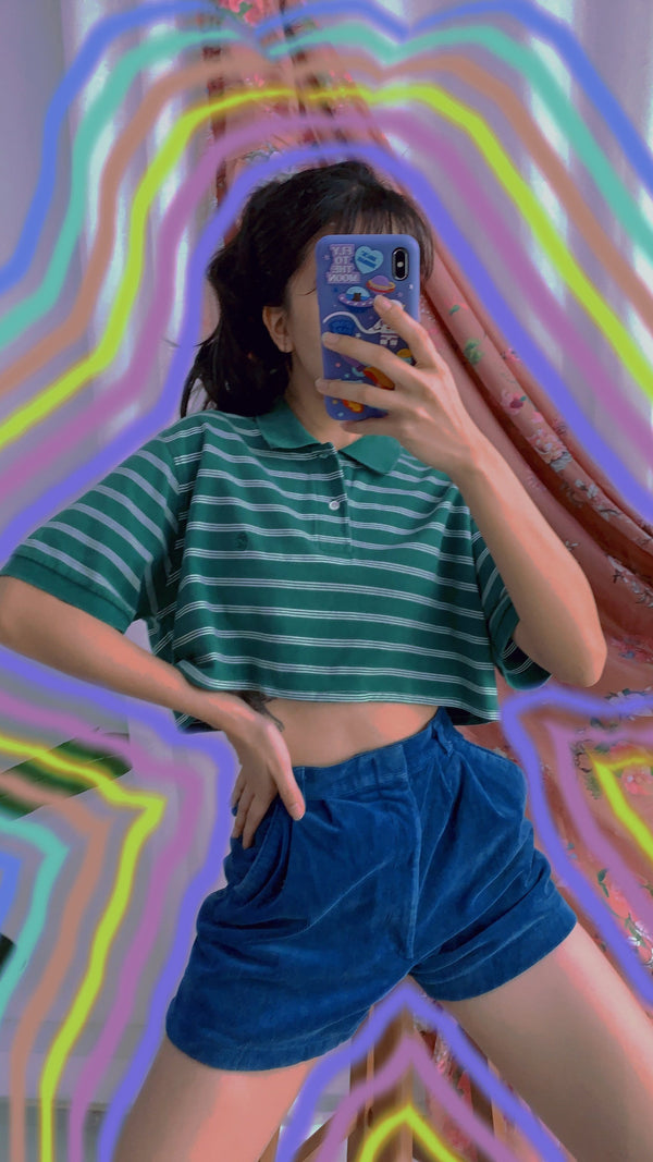👕REWORK 90s Crop Polo in Stripe
