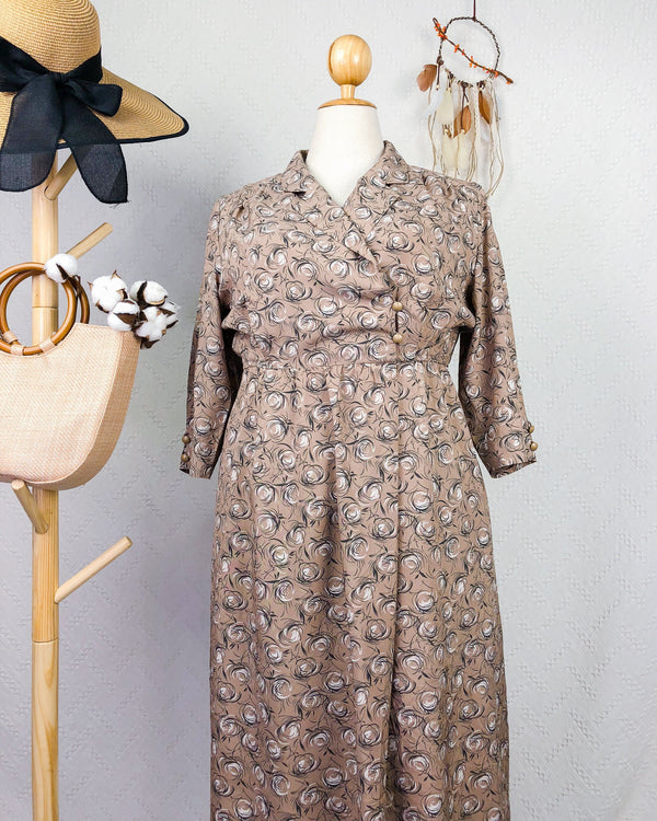UK16-18 Vintage Midi Dress DR182