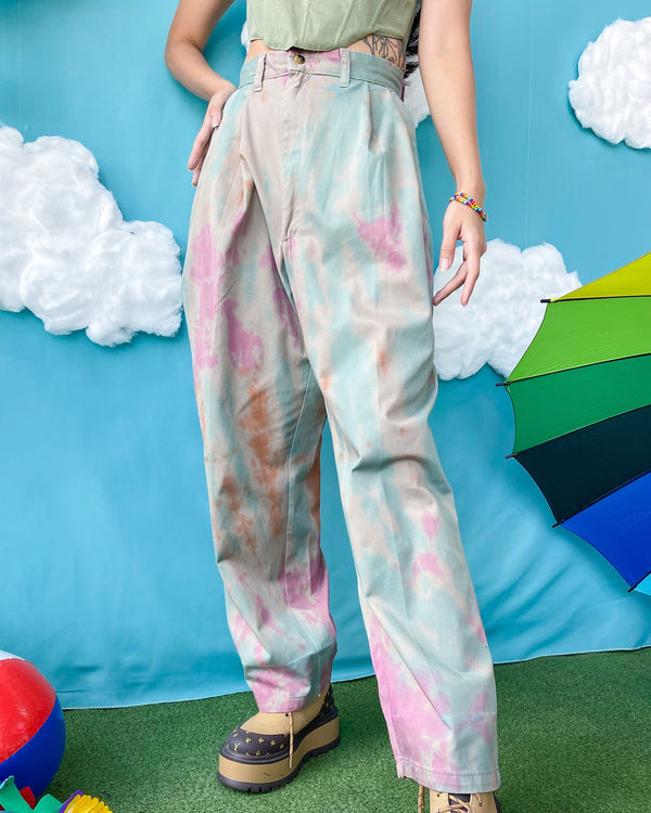 REWORK Pleated Pants in Tie Dye