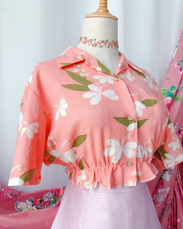 UK16-18 Rework Vintage Crop Blouse VB4159