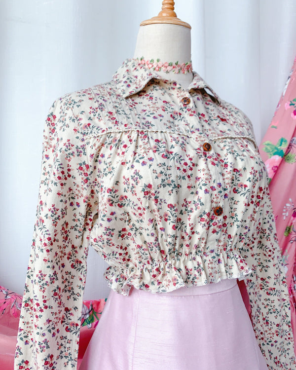 UK16-18 Rework Vintage Crop Blouse VB4163