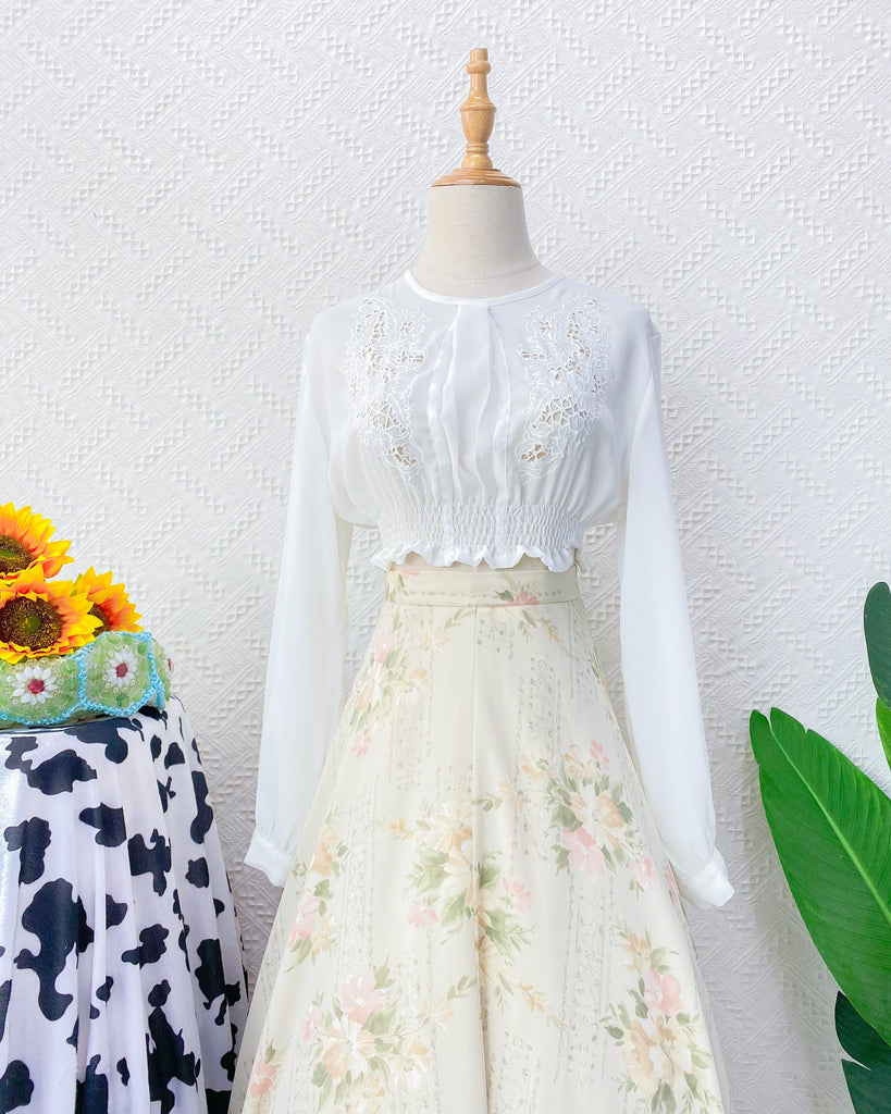 UK8-10 White Blouse Crop VB4806