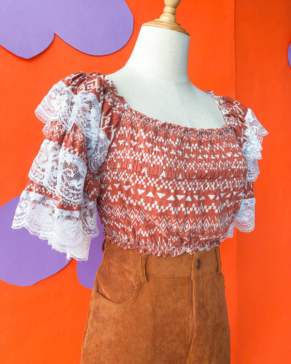 Lace Ruffle Crop VB5455