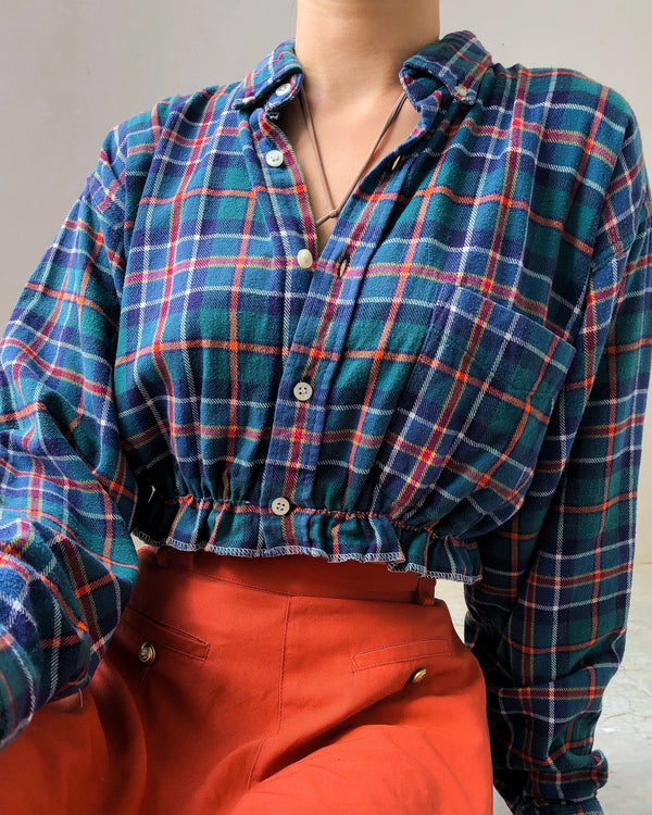 Button Flannel Crop VB5587