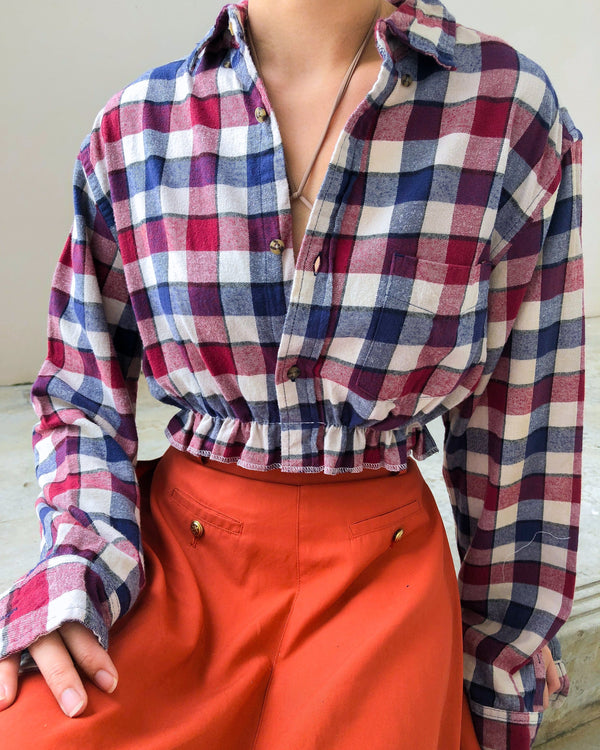 Button Flannel Crop VB5590