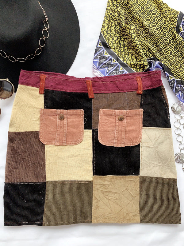Size 34' Rubix Corduroy Patchwork Skirt VS2131