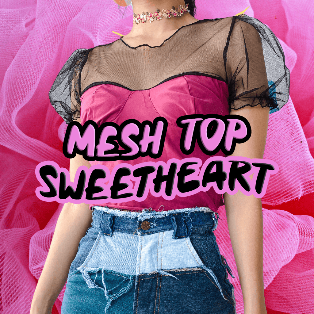 REWORK Mesh Sweetheart Top