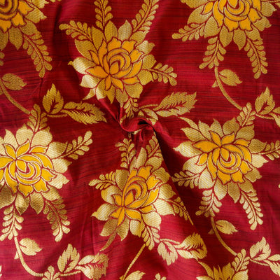 Banarasi Brocade Maroon With Gold And Mustard  Flower Jaal Weaves Fabric