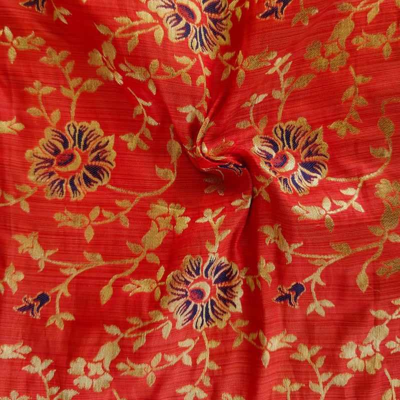 Banarasi Brocade Peach With Light Gold And Purple  Small Flower Jaal Weaves Fabric