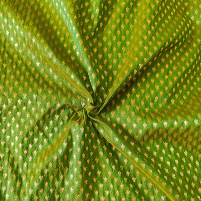 Banarasi Green Brocade With Tiny Gold Woven Butti Fabric