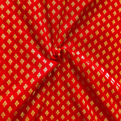 Banarasi Red Brocade With Tiny Gold Woven Butti Fabric