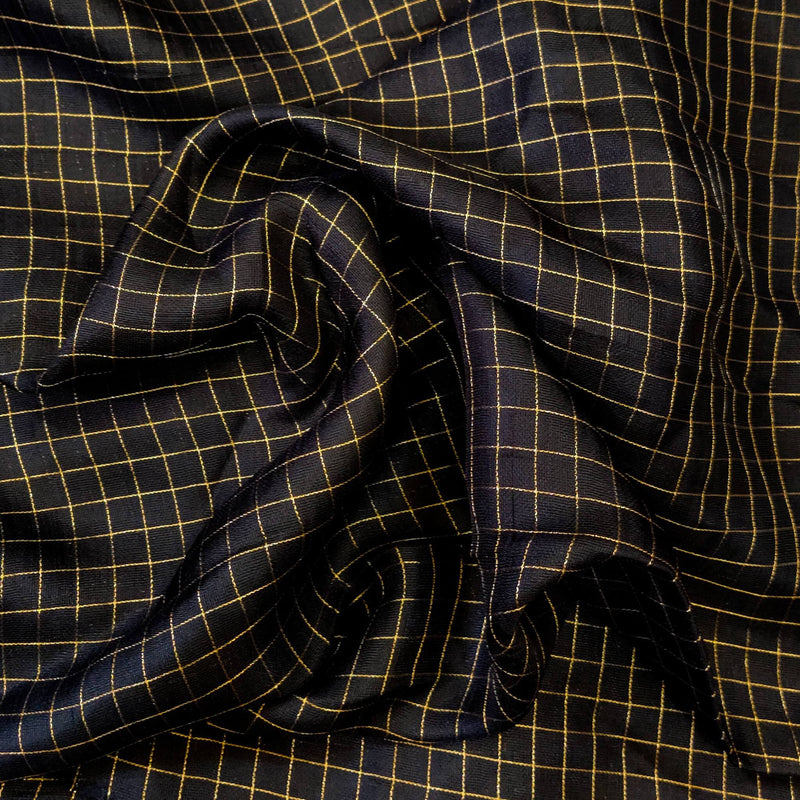 Black Jute Fabric With Gold Checks Hand Woven Fabric