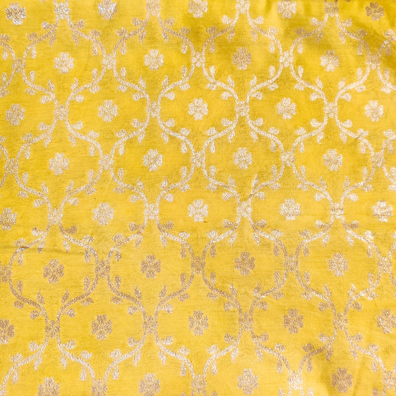 Brocade Pastel Yellow With Zari Jaal Woven Fabric