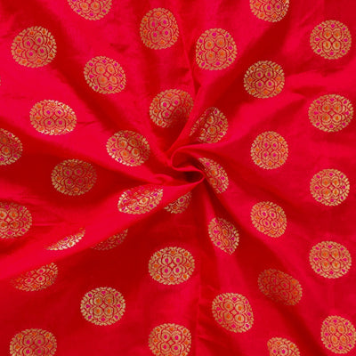 Brocade Pink With Gold Pink And Orange Chakra Woven Fabric
