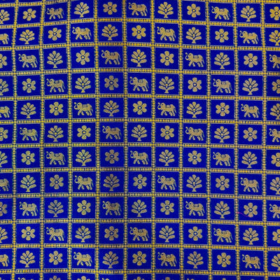 Brocade Blue With Gold Intricate Flower Tree And Elephant Motif Checks Woven Banarasi Fabric