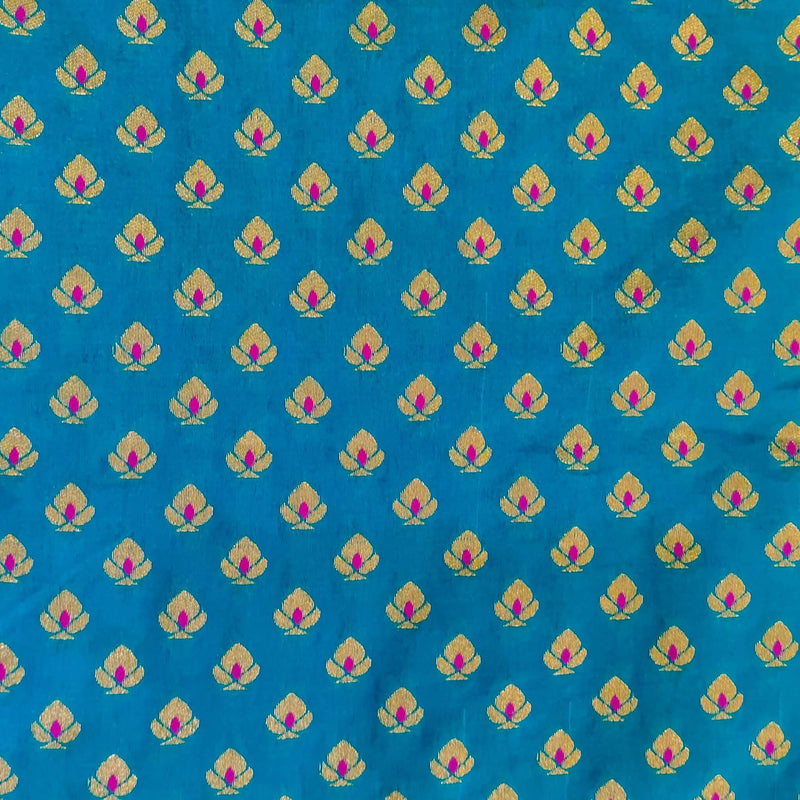 Brocade Light Blue With Gold And Pink Motif Weave Handwoven Fabric