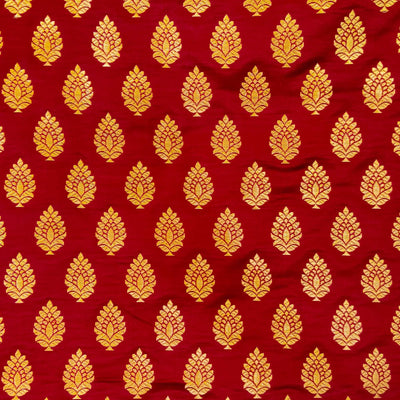 Brocade Maroon With Gold  Zari Tree Motif Weave Hand Woven Banarasi Fabric