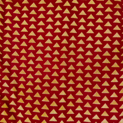 Brocade Silk Maroon With Tiny Woven Gold Zari Triangles Hand Woven Banarasi Fabric