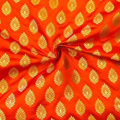 Brocade Orange With Gold  Zari Tree Motif Weave Hand Woven Banarasi Fabric