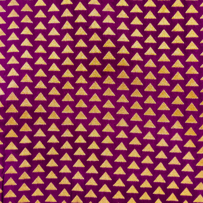 Brocade Silk Purple With Tiny Woven Gold Zari Triangles Hand Woven Banarasi Fabric