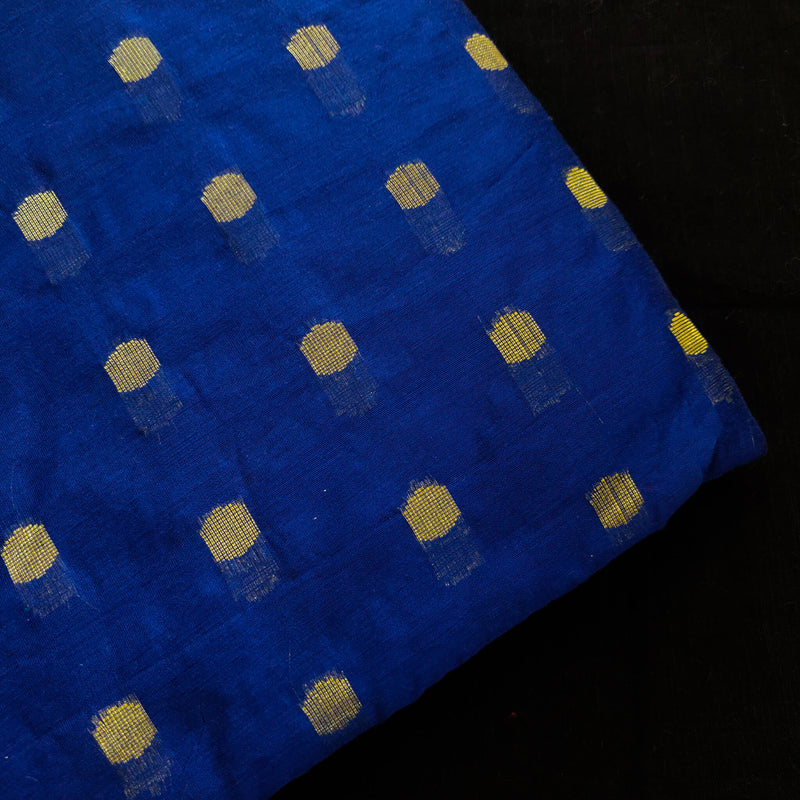 Chanderi Blue With Gold Zari Woven Buttis Fabric
