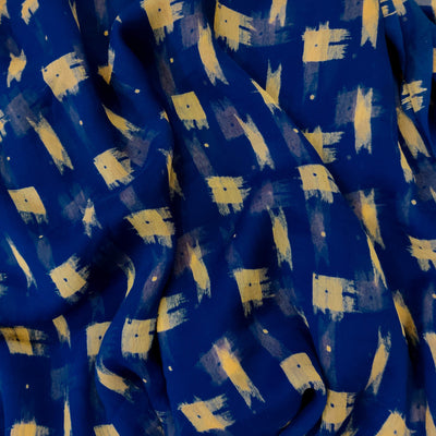 Chiffon Blue With Beige blurry Screen Print Fabric