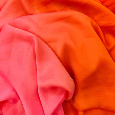 Georgette  Silk With  Pink And Orange Reversible Flowing Fabric