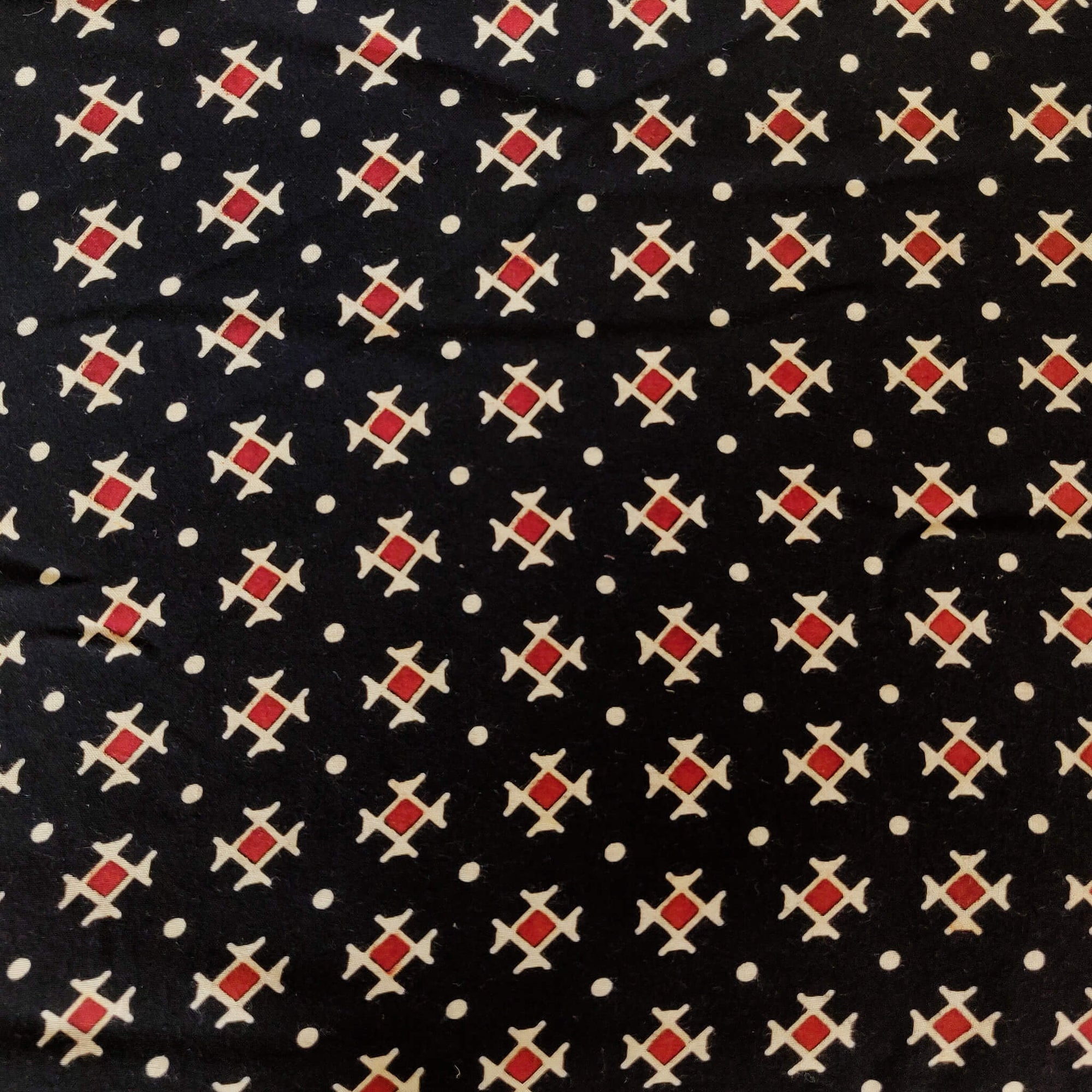 Cotton Rayon Black With Tiny Black Motifs Screenprint Fabric