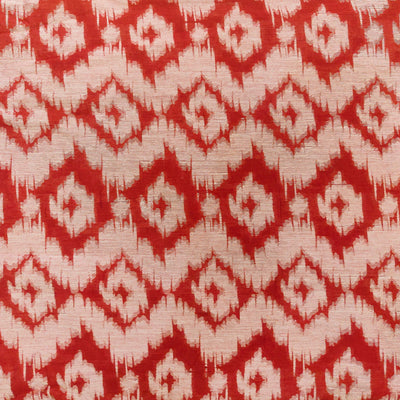 Cotton Red Silk Nano Ikkat With Blurry Digitally Woven Pattern