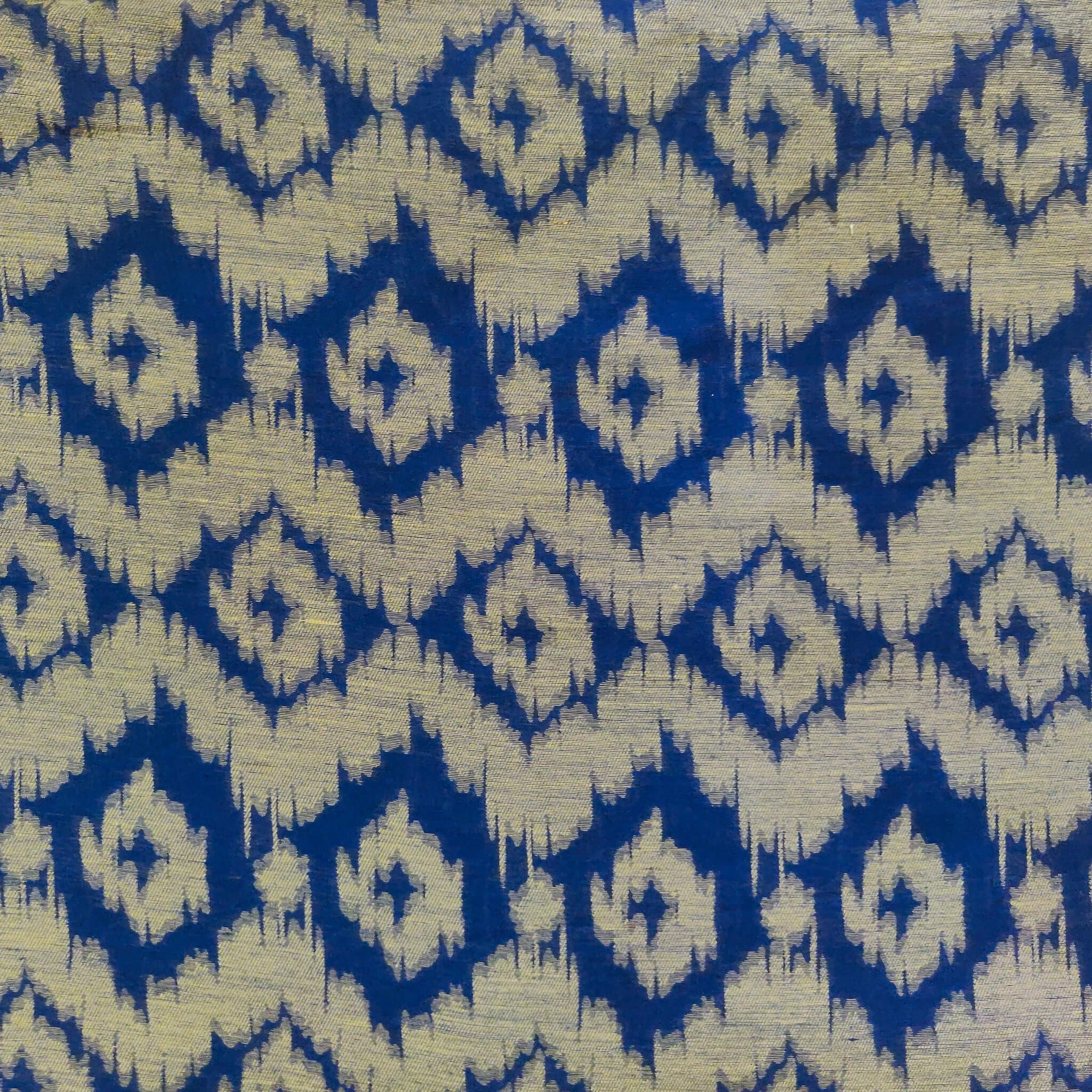 Cotton Silk Blue Nano Ikkat With Blurry Digitally Woven Pattern