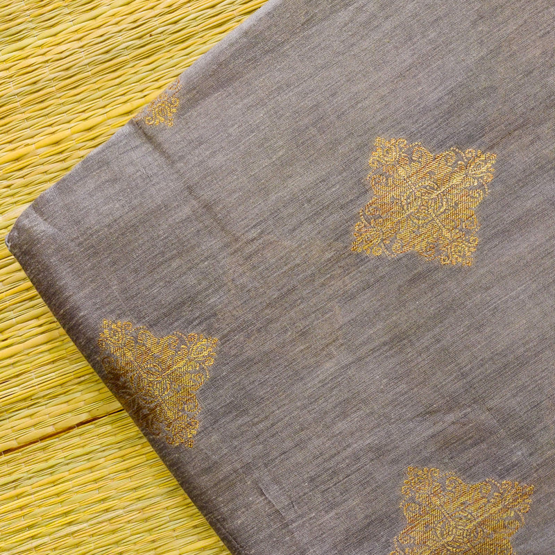 Cotton Silk Grey With Beige Brocade Motif Woven Fabric