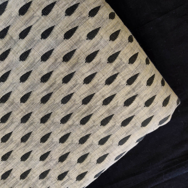Cotton Silk Light Grey With Tiny Black Tree Motif Woven Fabric